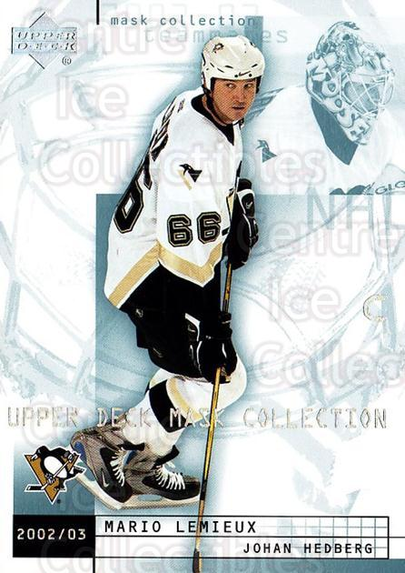 2002-03 UD Mask Collection #70 Mario Lemieux, Johan Hedberg<br/>1 In Stock - $2.00 each - <a href=https://centericecollectibles.foxycart.com/cart?name=2002-03%20UD%20Mask%20Collection%20%2370%20Mario%20Lemieux,%20...&quantity_max=1&price=$2.00&code=469884 class=foxycart> Buy it now! </a>