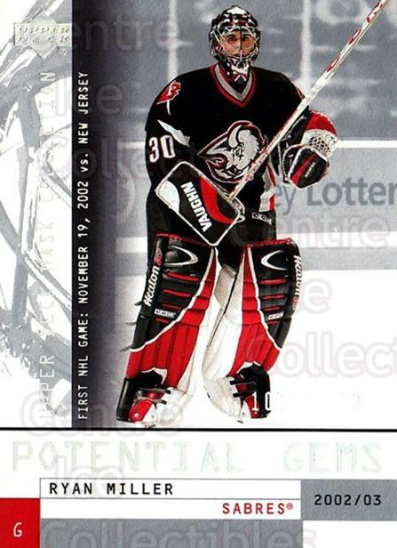 2002-03 UD Mask Collection #165 Ryan Miller<br/>1 In Stock - $10.00 each - <a href=https://centericecollectibles.foxycart.com/cart?name=2002-03%20UD%20Mask%20Collection%20%23165%20Ryan%20Miller...&quantity_max=1&price=$10.00&code=469900 class=foxycart> Buy it now! </a>