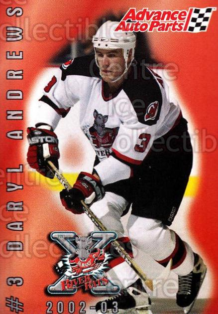 2002-03 Albany River Rats AAP #3 Daryl Andrews<br/>4 In Stock - $3.00 each - <a href=https://centericecollectibles.foxycart.com/cart?name=2002-03%20Albany%20River%20Rats%20AAP%20%233%20Daryl%20Andrews...&quantity_max=4&price=$3.00&code=470089 class=foxycart> Buy it now! </a>