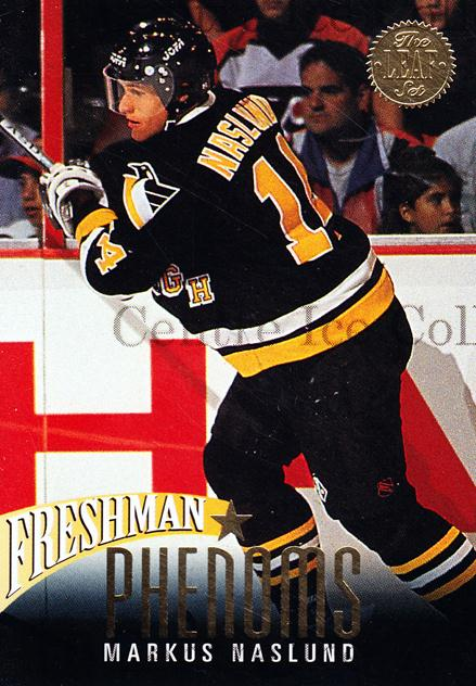 1993-94 Leaf Freshman Phenoms #4 Markus Naslund<br/>1 In Stock - $2.00 each - <a href=https://centericecollectibles.foxycart.com/cart?name=1993-94%20Leaf%20Freshman%20Phenoms%20%234%20Markus%20Naslund...&quantity_max=1&price=$2.00&code=470655 class=foxycart> Buy it now! </a>