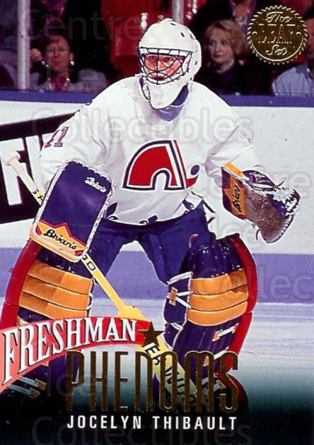 1993-94 Leaf Freshman Phenoms #10 Jocelyn Thibault<br/>3 In Stock - $2.00 each - <a href=https://centericecollectibles.foxycart.com/cart?name=1993-94%20Leaf%20Freshman%20Phenoms%20%2310%20Jocelyn%20Thibaul...&quantity_max=3&price=$2.00&code=470656 class=foxycart> Buy it now! </a>