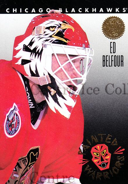 1993-94 Leaf Painted Warriors #6 Ed Belfour<br/>11 In Stock - $3.00 each - <a href=https://centericecollectibles.foxycart.com/cart?name=1993-94%20Leaf%20Painted%20Warriors%20%236%20Ed%20Belfour...&price=$3.00&code=470658 class=foxycart> Buy it now! </a>