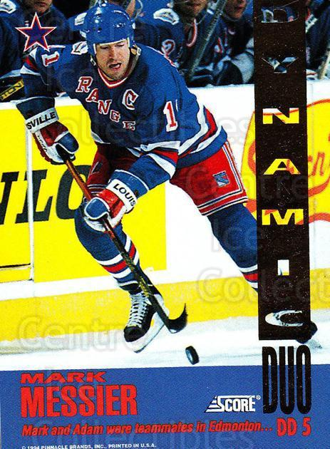 1993-94 Score Dynamic Duos American #5 Mark Messier, Adam Graves<br/>4 In Stock - $5.00 each - <a href=https://centericecollectibles.foxycart.com/cart?name=1993-94%20Score%20Dynamic%20Duos%20American%20%235%20Mark%20Messier,%20A...&quantity_max=4&price=$5.00&code=470686 class=foxycart> Buy it now! </a>