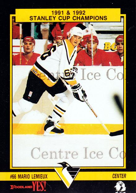 1992-93 Pittsburgh Penguins Foodland #1 Mario Lemieux<br/>2 In Stock - $5.00 each - <a href=https://centericecollectibles.foxycart.com/cart?name=1992-93%20Pittsburgh%20Penguins%20Foodland%20%231%20Mario%20Lemieux...&price=$5.00&code=470746 class=foxycart> Buy it now! </a>