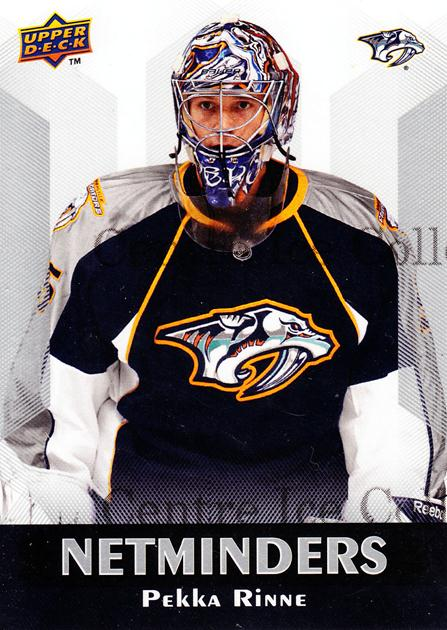 2010-11 Upper Deck Netminders #8 Pekka Rinne<br/>3 In Stock - $2.00 each - <a href=https://centericecollectibles.foxycart.com/cart?name=2010-11%20Upper%20Deck%20Netminders%20%238%20Pekka%20Rinne...&quantity_max=3&price=$2.00&code=470921 class=foxycart> Buy it now! </a>