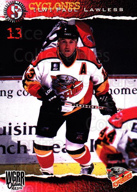 1996-97 Cincinnati Cyclones #10 Paul Lawless<br/>3 In Stock - $3.00 each - <a href=https://centericecollectibles.foxycart.com/cart?name=1996-97%20Cincinnati%20Cyclones%20%2310%20Paul%20Lawless...&quantity_max=3&price=$3.00&code=47112 class=foxycart> Buy it now! </a>