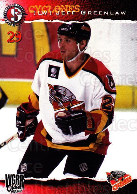 1996-97 Cincinnati Cyclones #18 Jeff Greenlaw<br/>4 In Stock - $3.00 each - <a href=https://centericecollectibles.foxycart.com/cart?name=1996-97%20Cincinnati%20Cyclones%20%2318%20Jeff%20Greenlaw...&quantity_max=4&price=$3.00&code=47120 class=foxycart> Buy it now! </a>