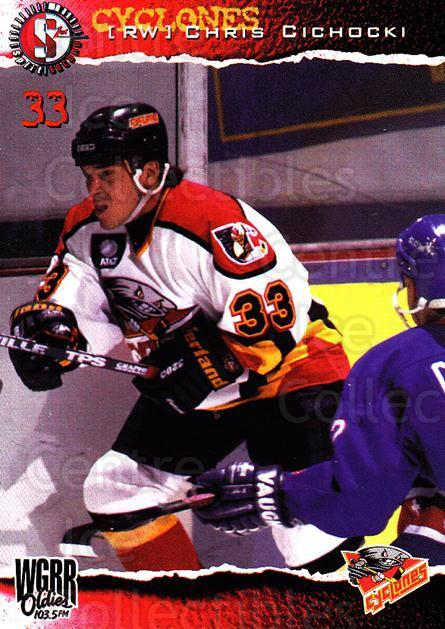 1996-97 Cincinnati Cyclones #20 Chris Cichocki<br/>3 In Stock - $3.00 each - <a href=https://centericecollectibles.foxycart.com/cart?name=1996-97%20Cincinnati%20Cyclones%20%2320%20Chris%20Cichocki...&quantity_max=3&price=$3.00&code=47123 class=foxycart> Buy it now! </a>