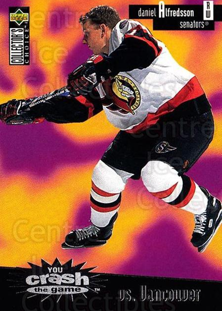 1996-97 Collectors Choice Crash the Game #13A Daniel Alfredsson<br/>2 In Stock - $2.00 each - <a href=https://centericecollectibles.foxycart.com/cart?name=1996-97%20Collectors%20Choice%20Crash%20the%20Game%20%2313A%20Daniel%20Alfredss...&quantity_max=2&price=$2.00&code=47167 class=foxycart> Buy it now! </a>