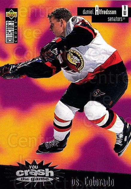1996-97 Collectors Choice Crash the Game #13B Daniel Alfredsson<br/>1 In Stock - $2.00 each - <a href=https://centericecollectibles.foxycart.com/cart?name=1996-97%20Collectors%20Choice%20Crash%20the%20Game%20%2313B%20Daniel%20Alfredss...&quantity_max=1&price=$2.00&code=47168 class=foxycart> Buy it now! </a>