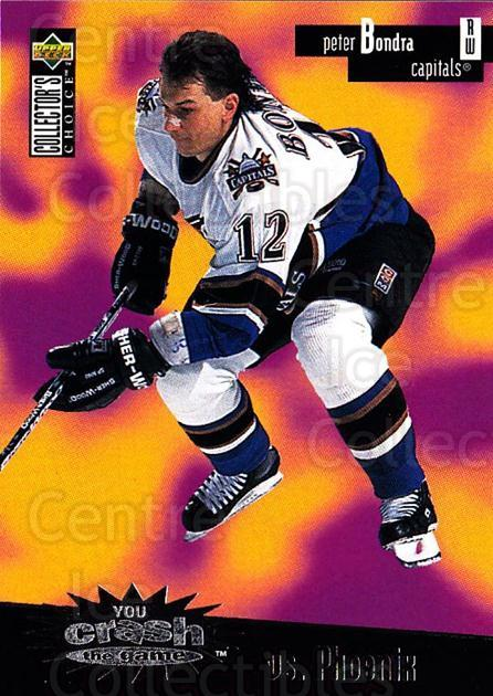1996-97 Collectors Choice Crash the Game #04B Peter Bondra<br/>1 In Stock - $2.00 each - <a href=https://centericecollectibles.foxycart.com/cart?name=1996-97%20Collectors%20Choice%20Crash%20the%20Game%20%2304B%20Peter%20Bondra...&quantity_max=1&price=$2.00&code=47202 class=foxycart> Buy it now! </a>