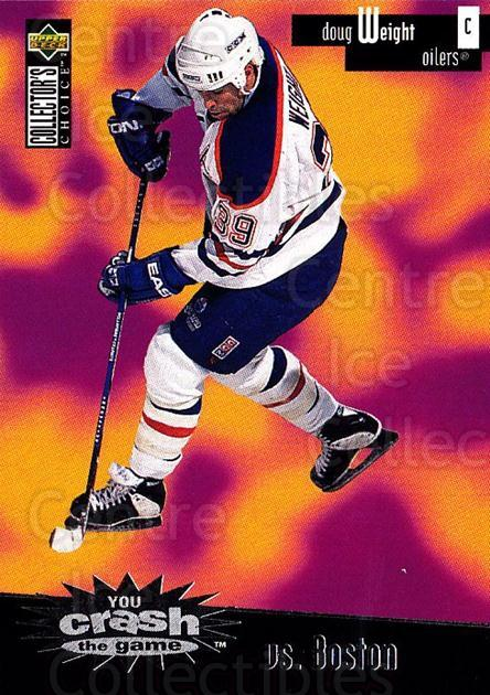 1996-97 Collectors Choice Crash the Game #09B Doug Weight<br/>3 In Stock - $2.00 each - <a href=https://centericecollectibles.foxycart.com/cart?name=1996-97%20Collectors%20Choice%20Crash%20the%20Game%20%2309B%20Doug%20Weight...&quantity_max=3&price=$2.00&code=47207 class=foxycart> Buy it now! </a>