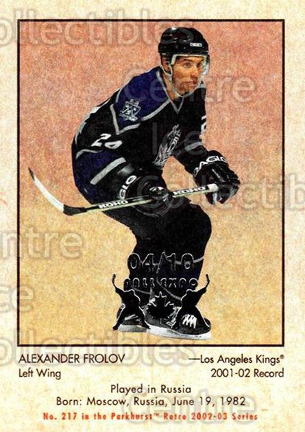 2002-03 Parkhurst Retro Fall Expo #217 Alexander Frolov<br/>2 In Stock - $5.00 each - <a href=https://centericecollectibles.foxycart.com/cart?name=2002-03%20Parkhurst%20Retro%20Fall%20Expo%20%23217%20Alexander%20Frolo...&quantity_max=2&price=$5.00&code=472309 class=foxycart> Buy it now! </a>