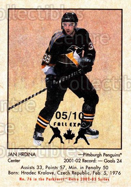 2002-03 Parkhurst Retro Fall Expo #76 Jan Hrdina<br/>4 In Stock - $5.00 each - <a href=https://centericecollectibles.foxycart.com/cart?name=2002-03%20Parkhurst%20Retro%20Fall%20Expo%20%2376%20Jan%20Hrdina...&quantity_max=4&price=$5.00&code=472370 class=foxycart> Buy it now! </a>
