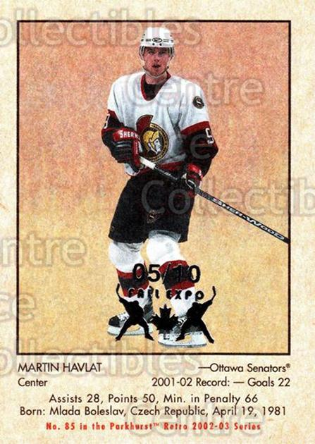 2002-03 Parkhurst Retro Fall Expo #85 Martin Havlat<br/>2 In Stock - $5.00 each - <a href=https://centericecollectibles.foxycart.com/cart?name=2002-03%20Parkhurst%20Retro%20Fall%20Expo%20%2385%20Martin%20Havlat...&quantity_max=2&price=$5.00&code=472380 class=foxycart> Buy it now! </a>