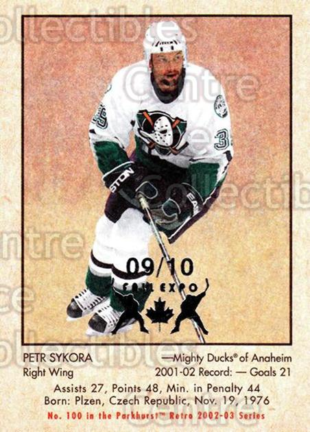 2002-03 Parkhurst Retro Fall Expo #100 Petr Sykora<br/>3 In Stock - $5.00 each - <a href=https://centericecollectibles.foxycart.com/cart?name=2002-03%20Parkhurst%20Retro%20Fall%20Expo%20%23100%20Petr%20Sykora...&quantity_max=3&price=$5.00&code=472406 class=foxycart> Buy it now! </a>