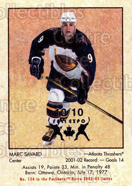 2002-03 Parkhurst Retro Fall Expo #124 Marc Savard<br/>4 In Stock - $5.00 each - <a href=https://centericecollectibles.foxycart.com/cart?name=2002-03%20Parkhurst%20Retro%20Fall%20Expo%20%23124%20Marc%20Savard...&quantity_max=4&price=$5.00&code=472431 class=foxycart> Buy it now! </a>