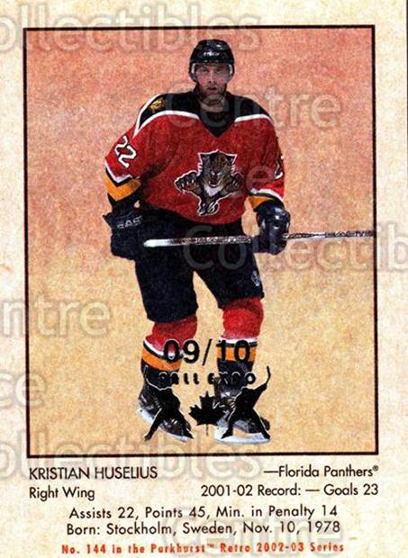 2002-03 Parkhurst Retro Fall Expo #144 Kristian Huselius<br/>4 In Stock - $5.00 each - <a href=https://centericecollectibles.foxycart.com/cart?name=2002-03%20Parkhurst%20Retro%20Fall%20Expo%20%23144%20Kristian%20Huseli...&quantity_max=4&price=$5.00&code=472452 class=foxycart> Buy it now! </a>