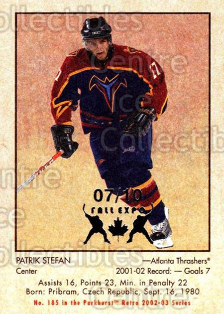 2002-03 Parkhurst Retro Fall Expo #185 Patrik Stefan<br/>4 In Stock - $5.00 each - <a href=https://centericecollectibles.foxycart.com/cart?name=2002-03%20Parkhurst%20Retro%20Fall%20Expo%20%23185%20Patrik%20Stefan...&quantity_max=4&price=$5.00&code=472494 class=foxycart> Buy it now! </a>