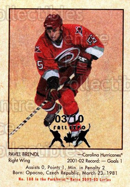 2002-03 Parkhurst Retro Fall Expo #188 Pavel Brendl<br/>1 In Stock - $5.00 each - <a href=https://centericecollectibles.foxycart.com/cart?name=2002-03%20Parkhurst%20Retro%20Fall%20Expo%20%23188%20Pavel%20Brendl...&quantity_max=1&price=$5.00&code=472497 class=foxycart> Buy it now! </a>