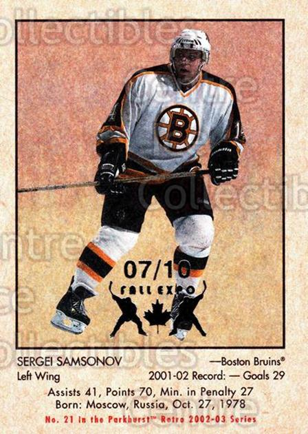 2002-03 Parkhurst Retro Fall Expo #21 Sergei Samsonov<br/>2 In Stock - $5.00 each - <a href=https://centericecollectibles.foxycart.com/cart?name=2002-03%20Parkhurst%20Retro%20Fall%20Expo%20%2321%20Sergei%20Samsonov...&quantity_max=2&price=$5.00&code=472513 class=foxycart> Buy it now! </a>