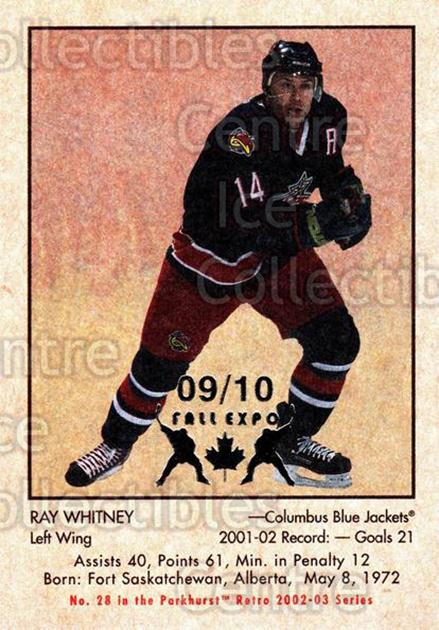 2002-03 Parkhurst Retro Fall Expo #28 Ray Whitney<br/>5 In Stock - $5.00 each - <a href=https://centericecollectibles.foxycart.com/cart?name=2002-03%20Parkhurst%20Retro%20Fall%20Expo%20%2328%20Ray%20Whitney...&quantity_max=5&price=$5.00&code=472520 class=foxycart> Buy it now! </a>