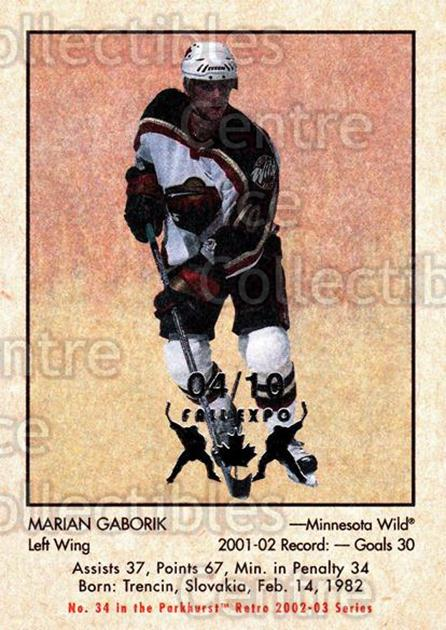 2002-03 Parkhurst Retro Fall Expo #34 Marian Gaborik<br/>3 In Stock - $5.00 each - <a href=https://centericecollectibles.foxycart.com/cart?name=2002-03%20Parkhurst%20Retro%20Fall%20Expo%20%2334%20Marian%20Gaborik...&quantity_max=3&price=$5.00&code=472527 class=foxycart> Buy it now! </a>