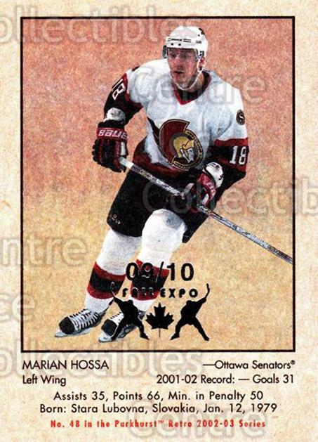 2002-03 Parkhurst Retro Fall Expo #48 Marian Hossa<br/>1 In Stock - $5.00 each - <a href=https://centericecollectibles.foxycart.com/cart?name=2002-03%20Parkhurst%20Retro%20Fall%20Expo%20%2348%20Marian%20Hossa...&quantity_max=1&price=$5.00&code=472540 class=foxycart> Buy it now! </a>