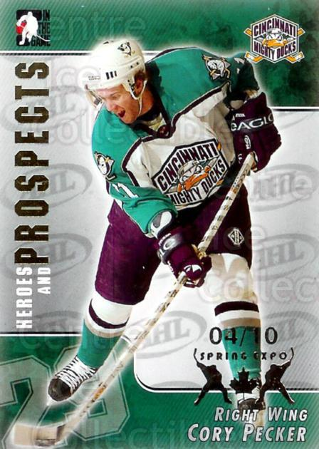 2004-05 ITG Heroes and Prospects Spring Expo #1 Cory Pecker<br/>1 In Stock - $5.00 each - <a href=https://centericecollectibles.foxycart.com/cart?name=2004-05%20ITG%20Heroes%20and%20Prospects%20Spring%20Expo%20%231%20Cory%20Pecker...&quantity_max=1&price=$5.00&code=472823 class=foxycart> Buy it now! </a>