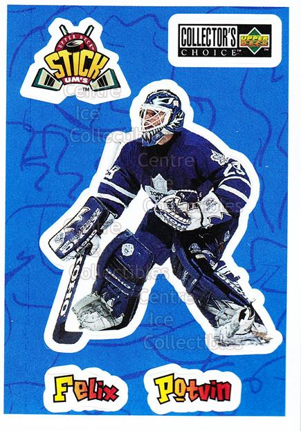 1996-97 Collectors Choice Stick Ums #11 Felix Potvin<br/>9 In Stock - $1.00 each - <a href=https://centericecollectibles.foxycart.com/cart?name=1996-97%20Collectors%20Choice%20Stick%20Ums%20%2311%20Felix%20Potvin...&quantity_max=9&price=$1.00&code=47290 class=foxycart> Buy it now! </a>