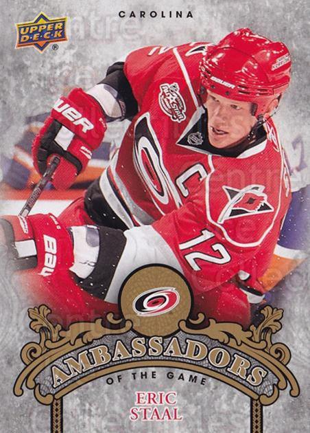 2010-11 Upper Deck Ambassadors of the Game #43 Eric Staal<br/>1 In Stock - $2.00 each - <a href=https://centericecollectibles.foxycart.com/cart?name=2010-11%20Upper%20Deck%20Ambassadors%20of%20the%20Game%20%2343%20Eric%20Staal...&quantity_max=1&price=$2.00&code=473208 class=foxycart> Buy it now! </a>