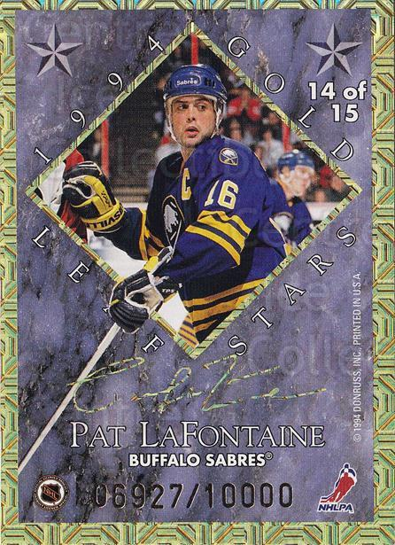 1994-95 Leaf Gold Stars #14 Adam Oates, Pat LaFontaine<br/>7 In Stock - $10.00 each - <a href=https://centericecollectibles.foxycart.com/cart?name=1994-95%20Leaf%20Gold%20Stars%20%2314%20Adam%20Oates,%20Pat...&price=$10.00&code=473317 class=foxycart> Buy it now! </a>