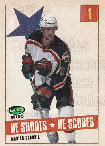 2002-03 Parkhurst Retro Points #1 Marian Gaborik<br/>5 In Stock - $2.00 each - <a href=https://centericecollectibles.foxycart.com/cart?name=2002-03%20Parkhurst%20Retro%20Points%20%231%20Marian%20Gaborik...&quantity_max=5&price=$2.00&code=473571 class=foxycart> Buy it now! </a>