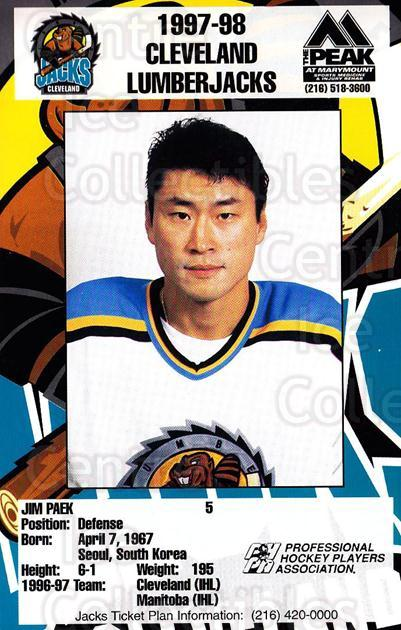 1997-98 Cleveland Lumberjacks Postcards #18 Jim Paek<br/>2 In Stock - $3.00 each - <a href=https://centericecollectibles.foxycart.com/cart?name=1997-98%20Cleveland%20Lumberjacks%20Postcards%20%2318%20Jim%20Paek...&quantity_max=2&price=$3.00&code=475243 class=foxycart> Buy it now! </a>