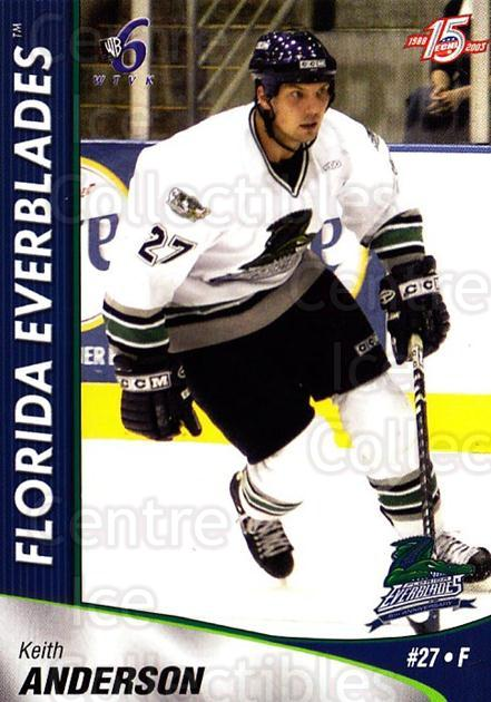 2002-03 Florida Everblades #1 Keith Anderson<br/>1 In Stock - $3.00 each - <a href=https://centericecollectibles.foxycart.com/cart?name=2002-03%20Florida%20Everblades%20%231%20Keith%20Anderson...&price=$3.00&code=475252 class=foxycart> Buy it now! </a>