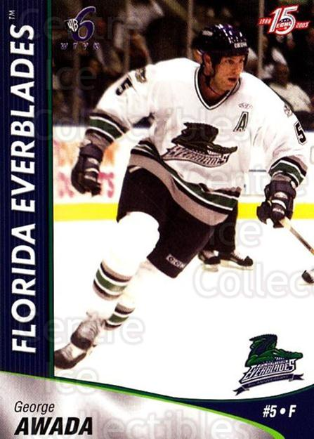 2002-03 Florida Everblades #2 George Awada<br/>2 In Stock - $3.00 each - <a href=https://centericecollectibles.foxycart.com/cart?name=2002-03%20Florida%20Everblades%20%232%20George%20Awada...&price=$3.00&code=475253 class=foxycart> Buy it now! </a>