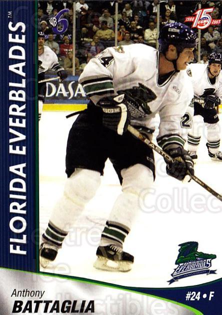 2002-03 Florida Everblades #3 Anthony Battaglia<br/>10 In Stock - $3.00 each - <a href=https://centericecollectibles.foxycart.com/cart?name=2002-03%20Florida%20Everblades%20%233%20Anthony%20Battagl...&quantity_max=10&price=$3.00&code=475254 class=foxycart> Buy it now! </a>