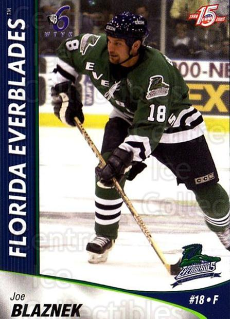 2002-03 Florida Everblades #4 Joe Blaznek<br/>12 In Stock - $3.00 each - <a href=https://centericecollectibles.foxycart.com/cart?name=2002-03%20Florida%20Everblades%20%234%20Joe%20Blaznek...&quantity_max=12&price=$3.00&code=475255 class=foxycart> Buy it now! </a>