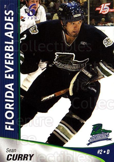 2002-03 Florida Everblades #7 Sean Curry<br/>2 In Stock - $3.00 each - <a href=https://centericecollectibles.foxycart.com/cart?name=2002-03%20Florida%20Everblades%20%237%20Sean%20Curry...&price=$3.00&code=475258 class=foxycart> Buy it now! </a>