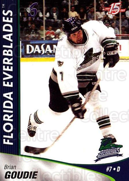 2002-03 Florida Everblades #8 Brian Goudie<br/>10 In Stock - $3.00 each - <a href=https://centericecollectibles.foxycart.com/cart?name=2002-03%20Florida%20Everblades%20%238%20Brian%20Goudie...&quantity_max=10&price=$3.00&code=475259 class=foxycart> Buy it now! </a>