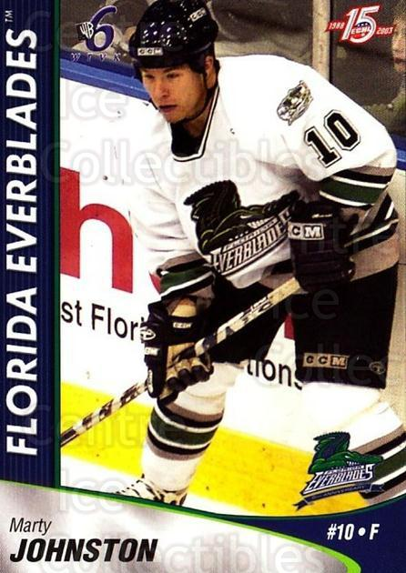 2002-03 Florida Everblades #11 Marty Johnston<br/>2 In Stock - $3.00 each - <a href=https://centericecollectibles.foxycart.com/cart?name=2002-03%20Florida%20Everblades%20%2311%20Marty%20Johnston...&price=$3.00&code=475262 class=foxycart> Buy it now! </a>