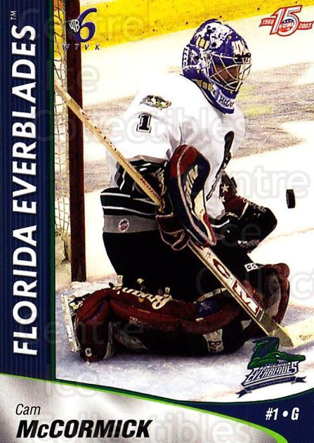 2002-03 Florida Everblades #12 Cam McCormick<br/>2 In Stock - $3.00 each - <a href=https://centericecollectibles.foxycart.com/cart?name=2002-03%20Florida%20Everblades%20%2312%20Cam%20McCormick...&price=$3.00&code=475263 class=foxycart> Buy it now! </a>