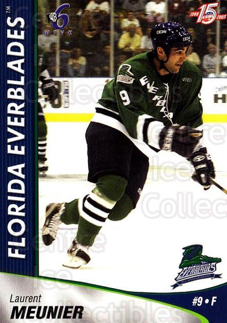 2002-03 Florida Everblades #13 Laurent Meunier<br/>10 In Stock - $3.00 each - <a href=https://centericecollectibles.foxycart.com/cart?name=2002-03%20Florida%20Everblades%20%2313%20Laurent%20Meunier...&quantity_max=10&price=$3.00&code=475264 class=foxycart> Buy it now! </a>