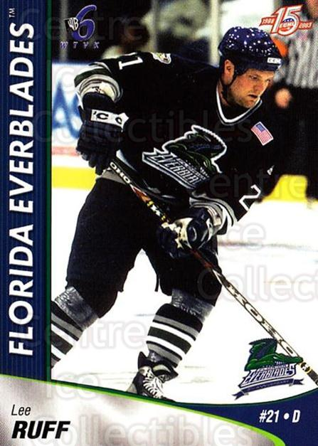 2002-03 Florida Everblades #17 Lee Ruff<br/>1 In Stock - $3.00 each - <a href=https://centericecollectibles.foxycart.com/cart?name=2002-03%20Florida%20Everblades%20%2317%20Lee%20Ruff...&price=$3.00&code=475268 class=foxycart> Buy it now! </a>
