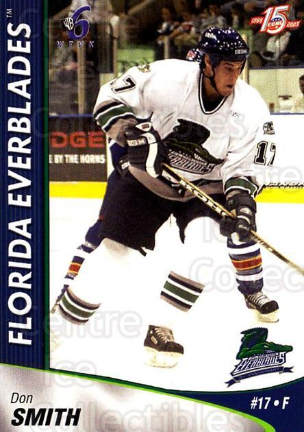 2002-03 Florida Everblades #18 Don Smith<br/>2 In Stock - $3.00 each - <a href=https://centericecollectibles.foxycart.com/cart?name=2002-03%20Florida%20Everblades%20%2318%20Don%20Smith...&price=$3.00&code=475269 class=foxycart> Buy it now! </a>