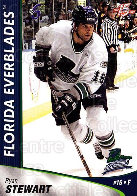 2002-03 Florida Everblades #19 Ryan Stewart<br/>1 In Stock - $3.00 each - <a href=https://centericecollectibles.foxycart.com/cart?name=2002-03%20Florida%20Everblades%20%2319%20Ryan%20Stewart...&price=$3.00&code=475270 class=foxycart> Buy it now! </a>
