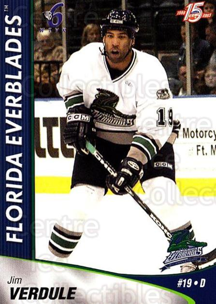 2002-03 Florida Everblades #20 Jimmy Verdule<br/>1 In Stock - $3.00 each - <a href=https://centericecollectibles.foxycart.com/cart?name=2002-03%20Florida%20Everblades%20%2320%20Jimmy%20Verdule...&price=$3.00&code=475271 class=foxycart> Buy it now! </a>