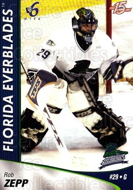 2002-03 Florida Everblades #22 Rob Zepp<br/>1 In Stock - $3.00 each - <a href=https://centericecollectibles.foxycart.com/cart?name=2002-03%20Florida%20Everblades%20%2322%20Rob%20Zepp...&price=$3.00&code=475273 class=foxycart> Buy it now! </a>