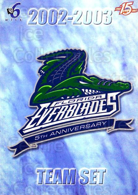 2002-03 Florida Everblades #26 Checklist<br/>1 In Stock - $3.00 each - <a href=https://centericecollectibles.foxycart.com/cart?name=2002-03%20Florida%20Everblades%20%2326%20Checklist...&price=$3.00&code=475277 class=foxycart> Buy it now! </a>