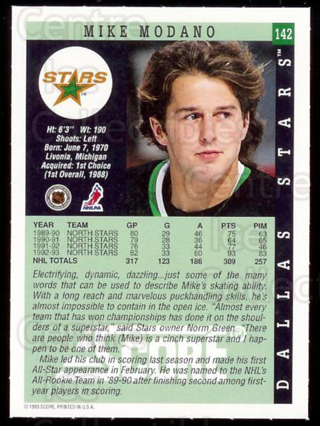 1993-94 Dallas Stars Score Team Issue #142 Mike Modano<br/>1 In Stock - $3.00 each - <a href=https://centericecollectibles.foxycart.com/cart?name=1993-94%20Dallas%20Stars%20Score%20Team%20Issue%20%23142%20Mike%20Modano...&quantity_max=1&price=$3.00&code=475311 class=foxycart> Buy it now! </a>